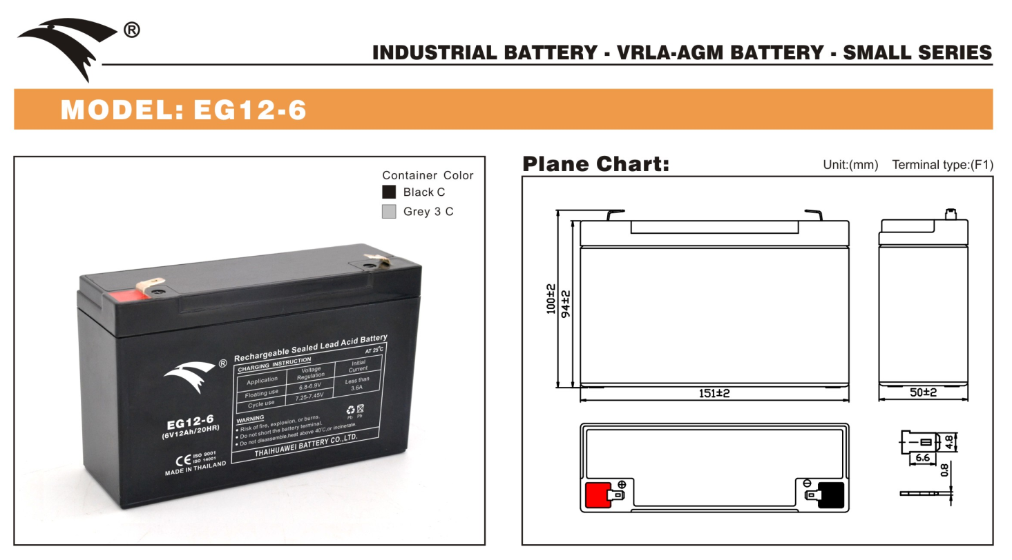 Bình ắc quy cho bộ lưu điện UPS EAGLE EG12-6 6V-12AH (HÀNG NGOẠI NHẬP)
