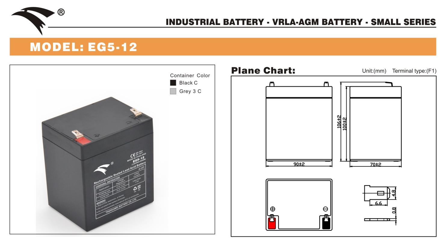 Bình ắc quy cho bộ lưu điện UPS EAGLE EG5-12 12V-5AH