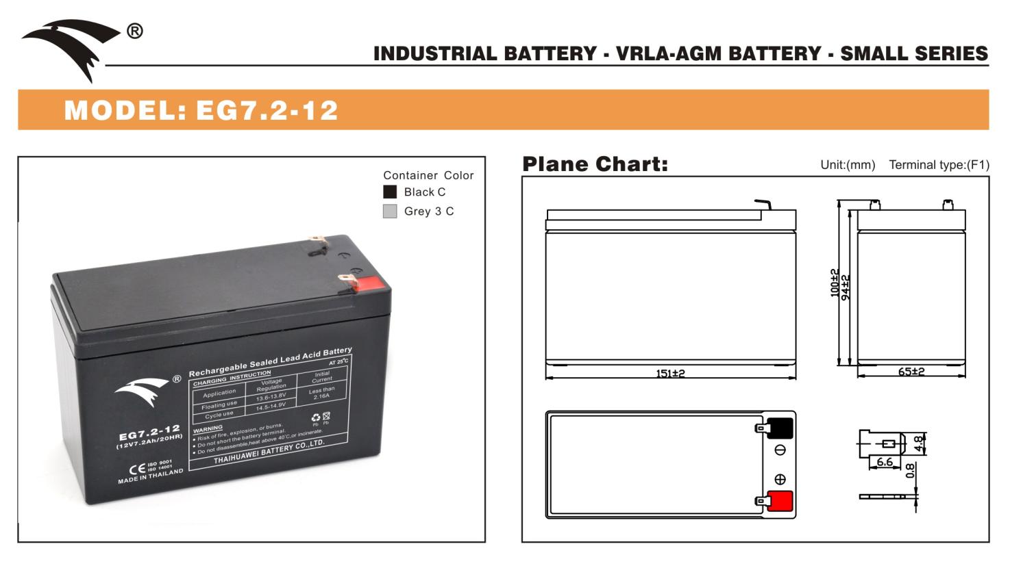 Bình ắc quy cho bộ lưu điện UPS EAGLE EG7.2-12 12V-7.2Ah (HÀNG NGOẠI NHẬP)